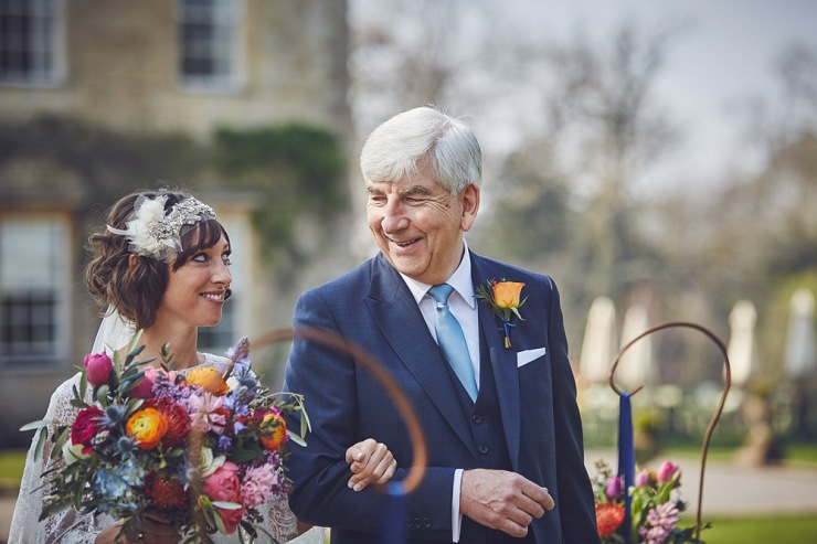 father and daughter look before ceremony at Babington House Somerset