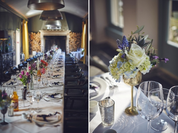 wedding photography floral table style Babington House Somerset