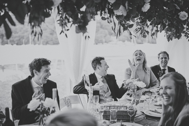 relaxed wedding photography of speeches at Devon wedding