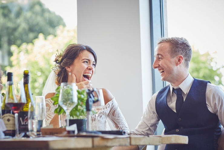 relaxed wedding photography of speeches at Kingston Estate Devon