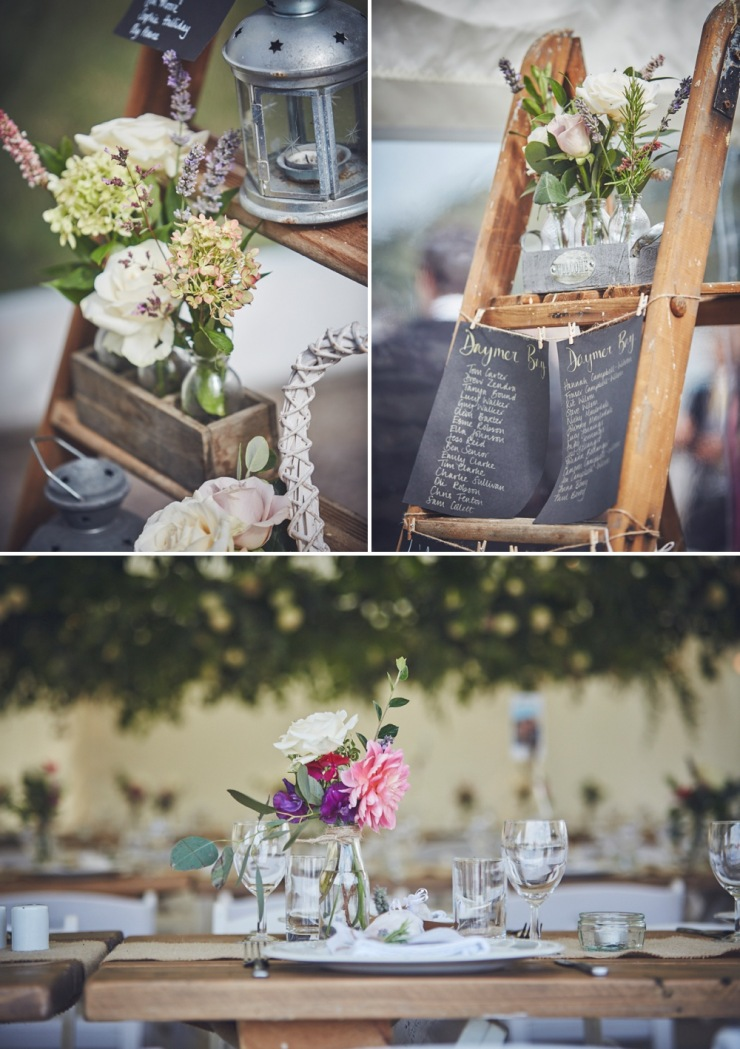 rustic ladder for table plan wedding styling in marquee in Devon