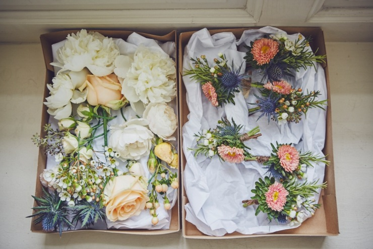 summer buttonholes at Kingston Estate wedding in Devon